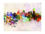 Cincinnati Skyline in Watercolor Background Prints by  paulrommer