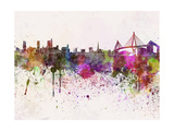 Hamburg Skyline in Watercolor Background Print by  paulrommer