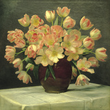Tulips in a Vase on a Draped Table (detail) Giclee Print by Peter Johan Schou