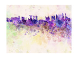 Singapore Skyline in Watercolor Background Art by  paulrommer