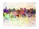 paulrommer - Tel Aviv Skyline in Watercolor Background - Poster