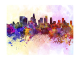 Los Angeles Skyline in Watercolor Background Prints by  paulrommer