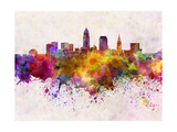 Cleveland Skyline in Watercolor Background Print by  paulrommer