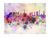 paulrommer - Tokyo Skyline in Watercolor Background - Poster