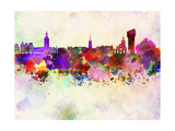 Stockholm Skyline in Watercolor Background Prints by  paulrommer