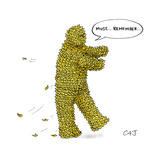 "A man whose body is covered every inch over with post it notes says, ""Must… - New Yorker Cartoon Premium Giclee Print by Carolita Johnson"