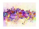 New York Skyline in Watercolor Background Poster by  paulrommer