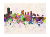Austin Skyline in Watercolor Background Art by  paulrommer