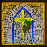 Stained Glass Cross I Photographic Print by Kathy Mahan
