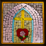 Stained Glass Cross IV Photographic Print by Kathy Mahan