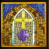 Stained Glass Cross III Photographic Print by Kathy Mahan