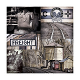 Historic Train Collage I Photographic Print by Kathy Mahan