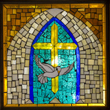 Stained Glass Cross V Photographic Print by Kathy Mahan