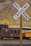 Railroad Crossing Photographic Print by Kathy Mahan