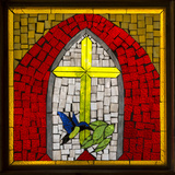 Stained Glass Cross II Photographic Print by Kathy Mahan