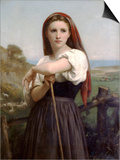 Young Shepherdess Poster by William Adolphe Bouguereau