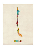 Chile Watercolor Map Photographic Print by Michael Tompsett