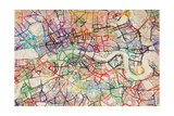 Watercolour Map of London Photographic Print by Michael Tompsett