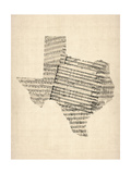 Old Sheet Music Map of Texas Posters by Michael Tompsett