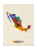 Mexico Watercolor Map Print by Michael Tompsett