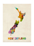 New Zealand, Watercolor Map Photographic Print by Michael Tompsett