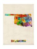 Oklahoma Watercolor Map Photographic Print by Michael Tompsett