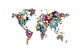 Butterflies Map of the World Photographic Print by Michael Tompsett