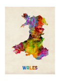 Wales Watercolor Map Photographic Print by Michael Tompsett