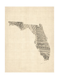 Old Sheet Music Map of Florida Prints by Michael Tompsett