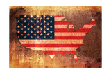 United States Flag Map Photographic Print by Michael Tompsett