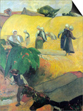 Harvest in Brittany Prints by Paul Gauguin