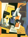 Violin and Glass Art by Juan Gris