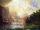 Between the Sierra Nevada Mountains Print by Albert Bierstadt
