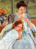 Young Mother Sewing Posters by Mary Cassatt