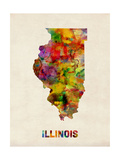 Illinois Watercolor Map Photographic Print by Michael Tompsett