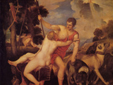 Venus and Adonis Posters by  Titian