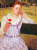 Woman with Red Zinnia Art by Mary Cassatt