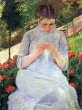 Young Woman Sewing in the Garden Print by Mary Cassatt