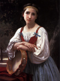 Gypsy Girl with a Basque Drum Posters by William Adolphe Bouguereau