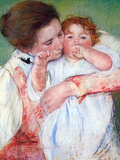 Young Mothers Embrace Prints by Mary Cassatt