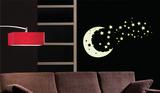 Moon and Stars - Glow in the dark Kalkomania ścienna