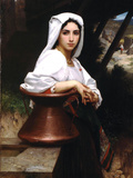Italian Girl Drawing Water Poster by William Adolphe Bouguereau