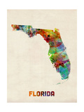 Florida Watercolor Map Photographic Print by Michael Tompsett