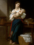 Premires Caresses Poster by William Adolphe Bouguereau