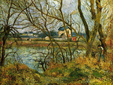 Grey Day on the Banks of the Oise at Pontoise Affiches par Camille Pissarro