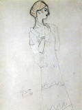 Gustav Klimt - Profile Standing Female Figure with Raised Arms - Reprodüksiyon