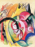 Colored Flowers Print by Franz Marc