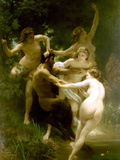 Nymphs and Satyr Posters by William Adolphe Bouguereau