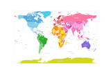 Continents World Map Photographic Print by Michael Tompsett