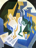 Still Life with Fruit Bowl and Mandolin Poster by Juan Gris